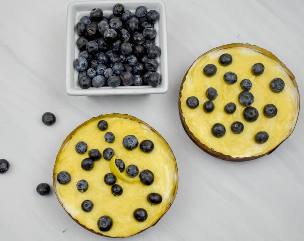 Keto lemon curd blueberry cheesecake mousse tart