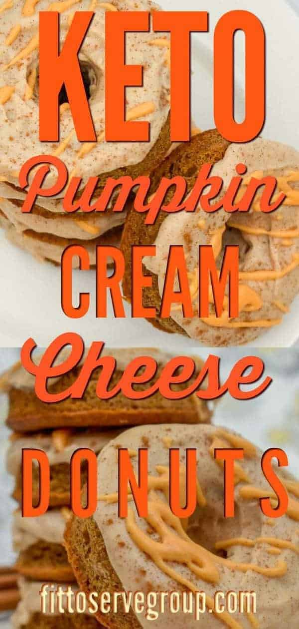 A recipe for keto pumpkin cream cheese donuts that is low in carbs and keto-friendly. These keto donuts boasts loads of pumpkin spice flavor and has a keto cinnamon maple frosting. #keto #ketopumpkindonuts #lowcarb #lowcarbpumpkindonuts #lowcarbdonuts #ketodonuts