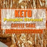 This delicious recipe for keto pumpkin streusel coffee cake that is sure to be your low carb coffee cake of choice during pumpkin season. It's packed with pumpkin spice flavors yet low in carbs and keto-friendly. keto pumpkin coffee cake| keto pumpkin streusel coffee cake| low carb pumpkin streusel coffee cake|keto pumpkin recipe|low carb pumpkin recipe