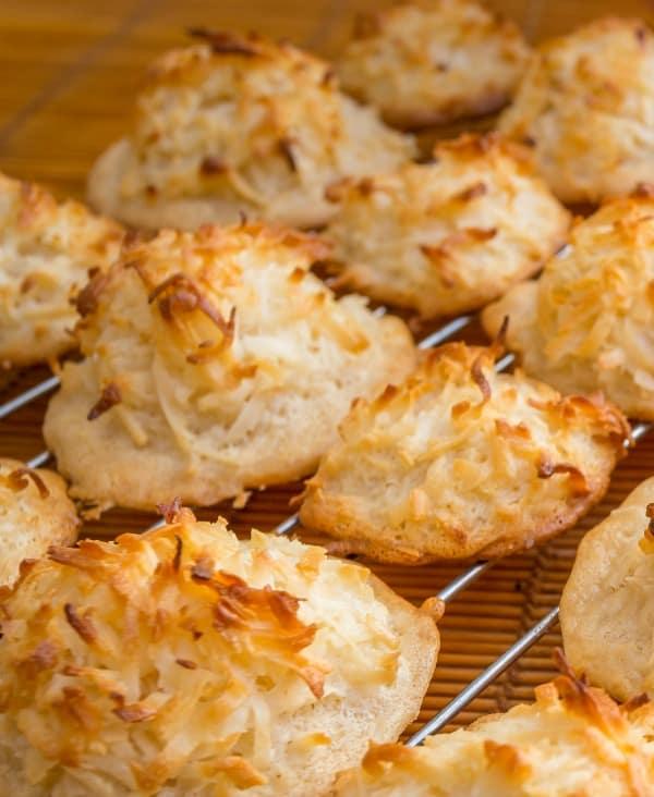 keto coconut macaroons on baking rack