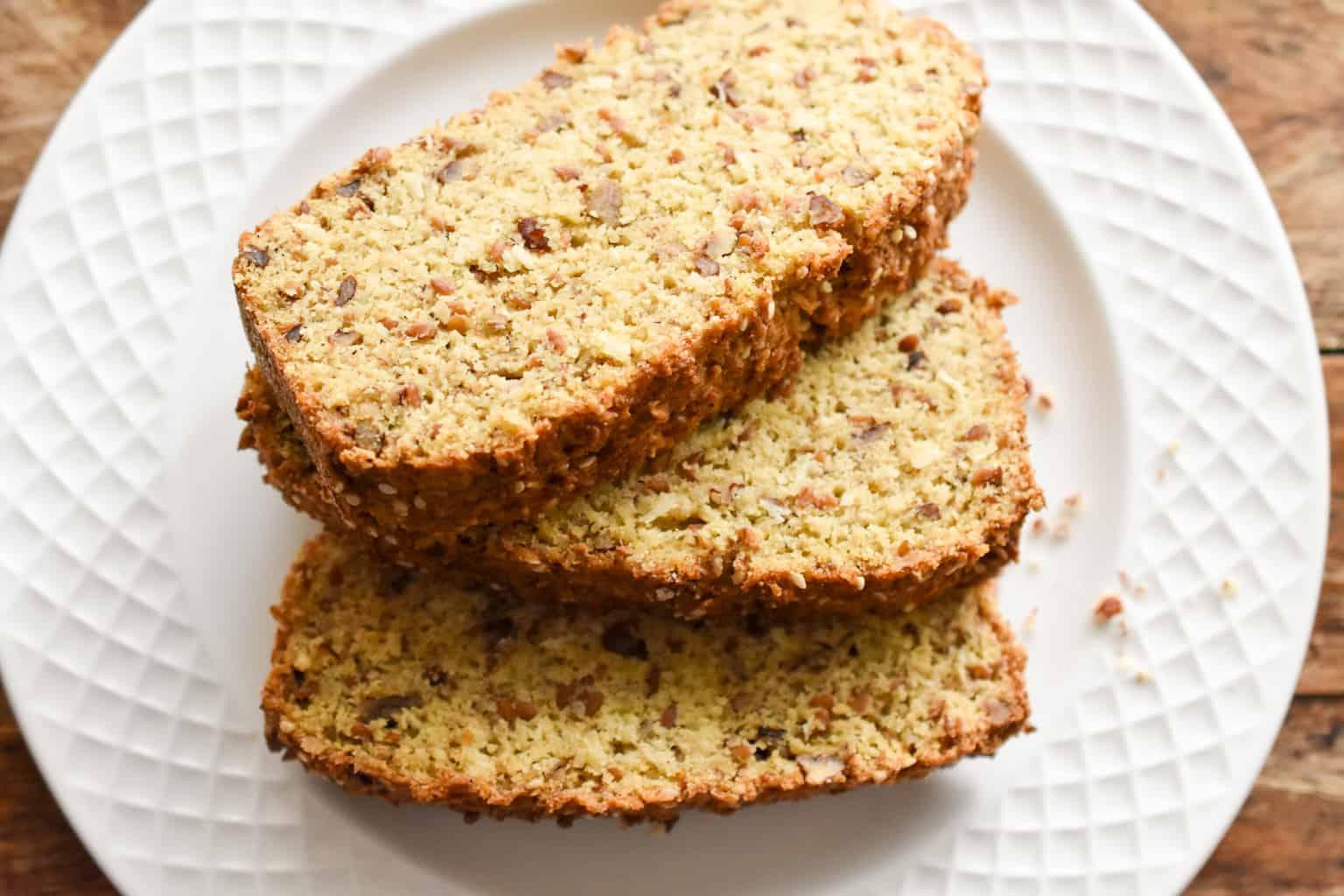 keto high fiber bread loaf three slices