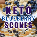 Keto Blueberry Scones batter and then baked in a cast-iron skillet
