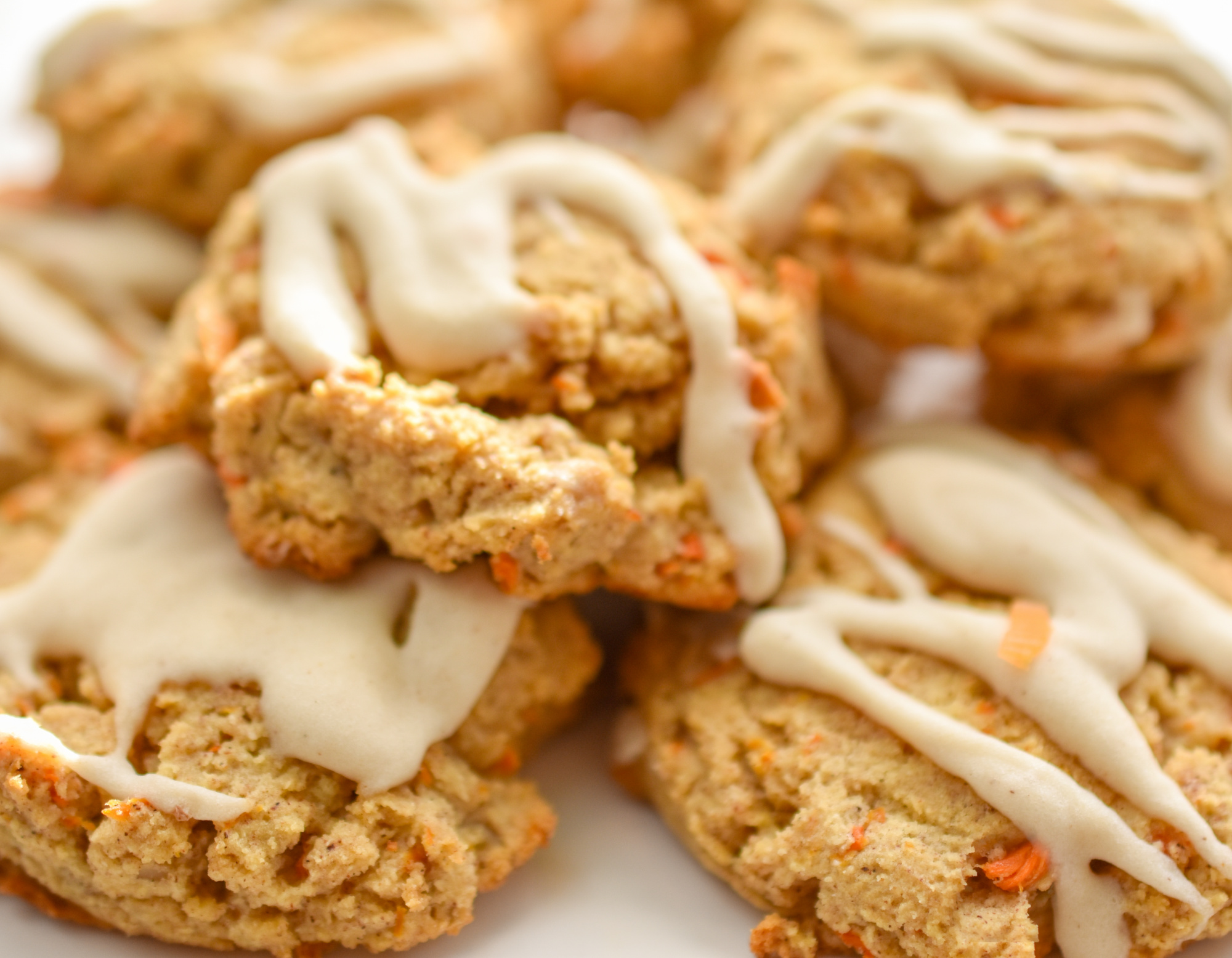 keto carrot cake cookies close up on a white plate