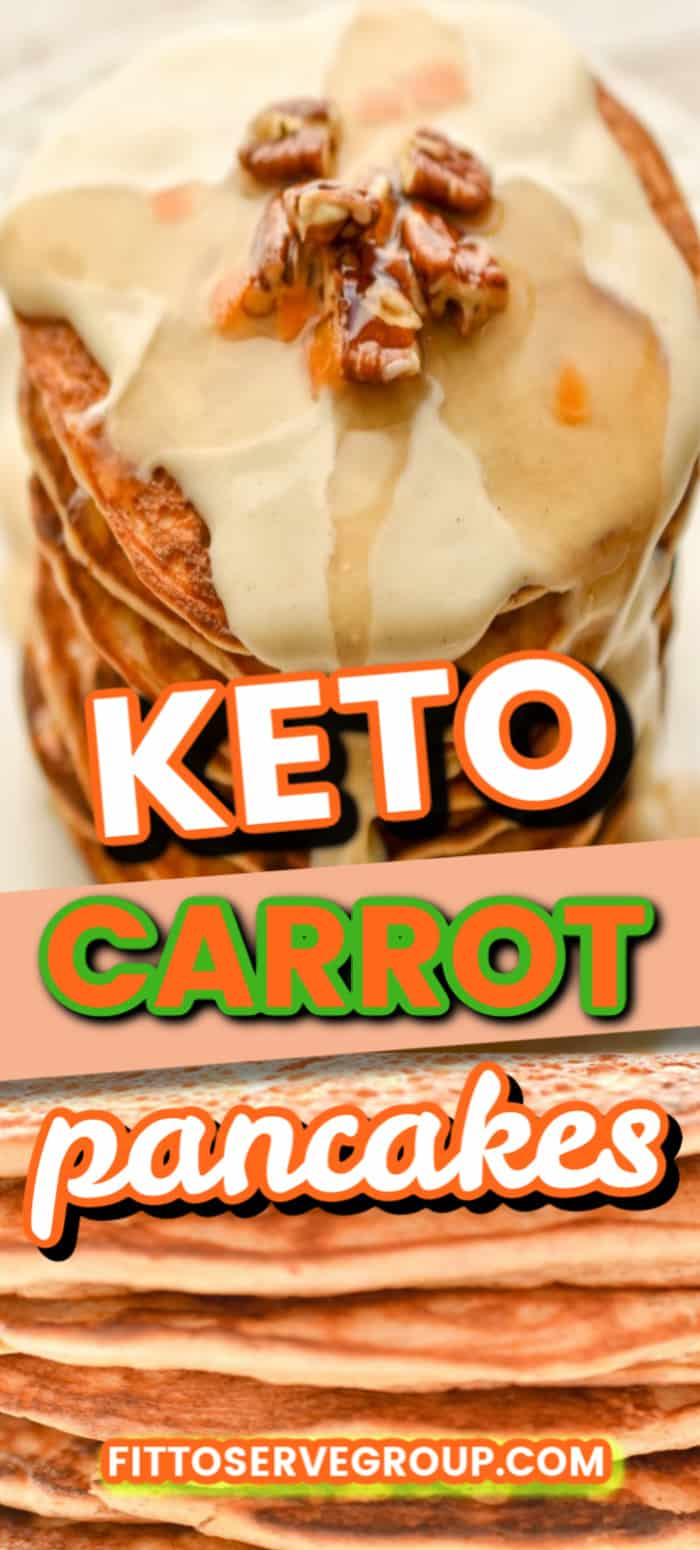 Keto Carrot Pancakes- The ultimate carrot cake pancakes that just so happen to also be sugar-free, grain-free, gluten-free and have an option to also be nut-free. If you're a fan of all the flavors of carrot cake but want to avoid the carbs, this recipe is for you. #ketocarrotpancakes #ketopancakes #lowcarbpancakes #lowcarbcarrotcakepancakes
