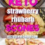 Keto Strawberry Rhubarb Scones recipe makes a fabulous addition to a seasonal brunch or as an afternoon snack or even dessert. It's bursting with the perfect balance of flavors that sweet strawberries and tart rhubarb provides. #ketoscones #ketostrawberryrhubarbdessert #lowcarbscones