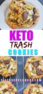 These Keto Trash Cookies are the perfect combination of sweet and salty. Using leftover keto-friendly items allows you to use what's in your pantry for a delicious compost, garbage can cookies minus all the carbs. #ketotrashcookies #ketocookies #lowcarbcookies