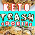 Keto trash cookies on a white plate