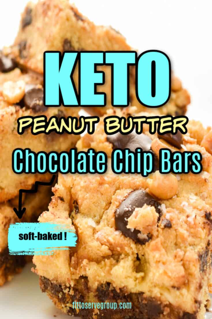 These easy, delicious Keto Peanut Butter Chocolate Chip Bars are loaded with peanut butter and chocolate goodness. They are thick and oozing with peanut butter and melty sugar-free chocolate chips makes these the perfect little low carb treat. #ketopeanutbutterchocolatechipbars #ketocookiebars #lowcarbcookiebars