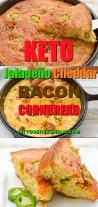 This delicious keto jalapeño cheddar bacon cornbread will fool your tastebuds into thinking it's the real thing. Yet it uses zero corn or cornmeal and even the texture is spot on