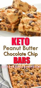 These Keto Peanut Butter Chocolate Chip Bars are loaded with peanut butter and chocolate goodness. Thick and oozing with peanut butter and melty sugar-free chocolate chips makes these the perfect little low carb treat. #ketopeanutbutterchocolatechipbars #ketocookiebars #lowcarbcookiebars