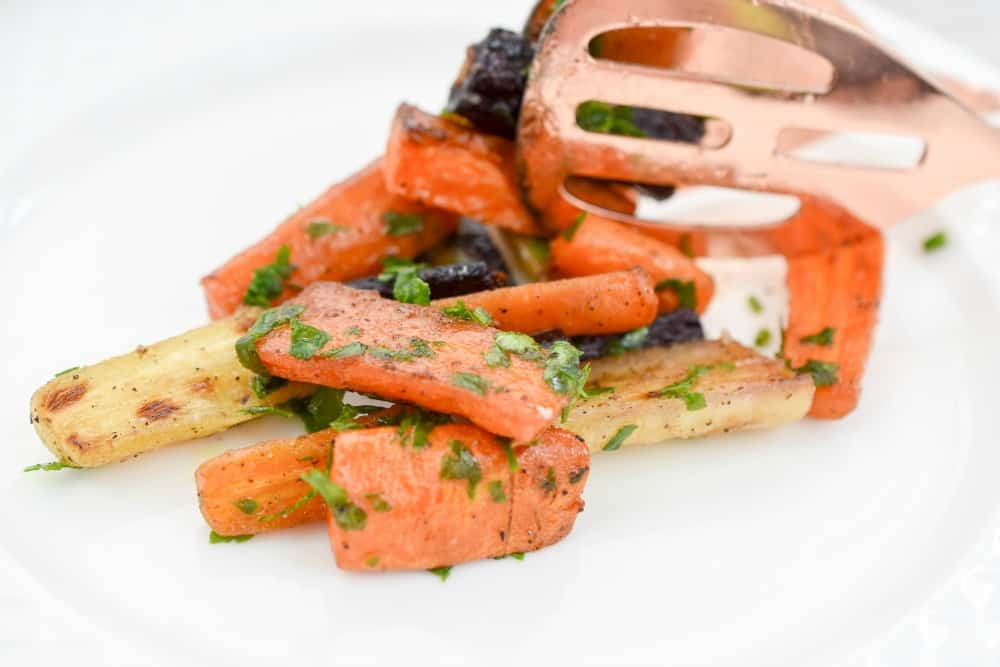 These delicious keto roasted glazed carrots make the perfect side-dish for the holidays. They are much lower in carbs than the traditional glazed carrot dish.