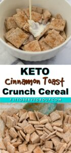 Keto cinnamon toast crunch cereal being made and served.