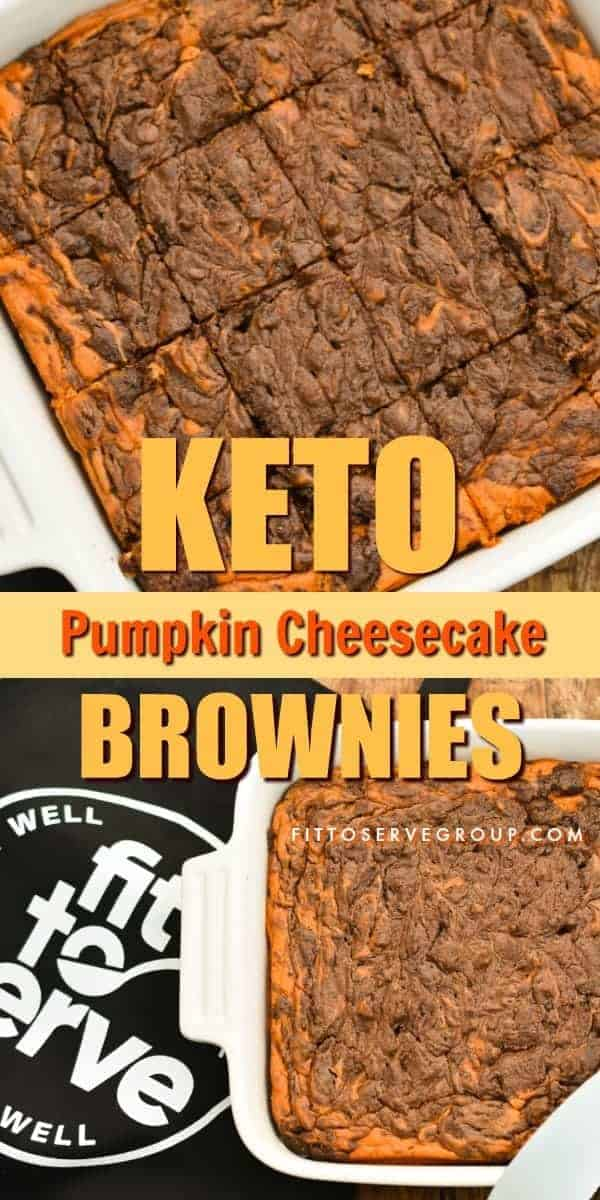 These rich Keto pumpkin cheesecake brownies are perfect for when you have a hankering for both chocolate and pumpkin and can't decide between the two. The fact that they are low in carbs, sugar-free, gluten and grain-free makes them a great treat for anyone doing a ketogenic diet. keto pumpkin recipe| low carb pumpkin recipe| sugar-free pumpkin recipe| keto pumpkin brownies| low carb pumpkin brownies