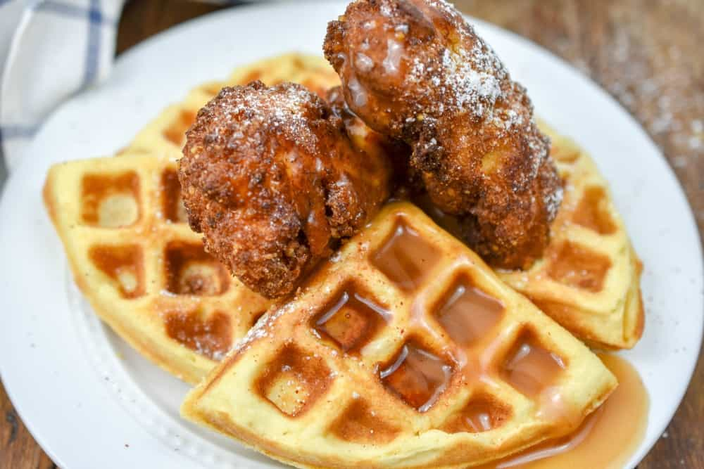 This keto chicken and waffles rivals its high carb counterpart in flavor. However, this is a delicious option has only a fraction of carbs and is keto-friendly. keto chicken and waffles  low carb chicken and waffles  chicken and waffles chaffles