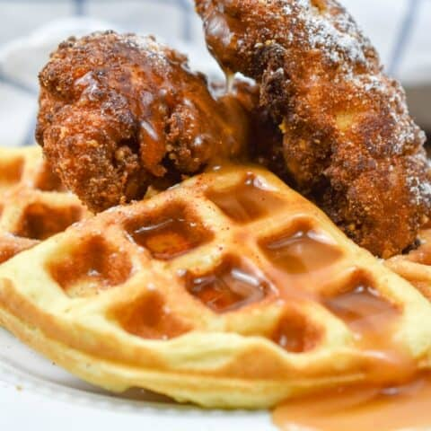 This keto chicken and waffles rivals its high carb counterpart in flavor. However, this is a delicious option has only a fraction of carbs and is keto-friendly. keto chicken and waffles| low carb chicken and waffles| chicken and waffles|chaffles