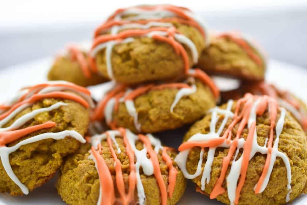 A plate full of keto cream cheese pumpkin cookies