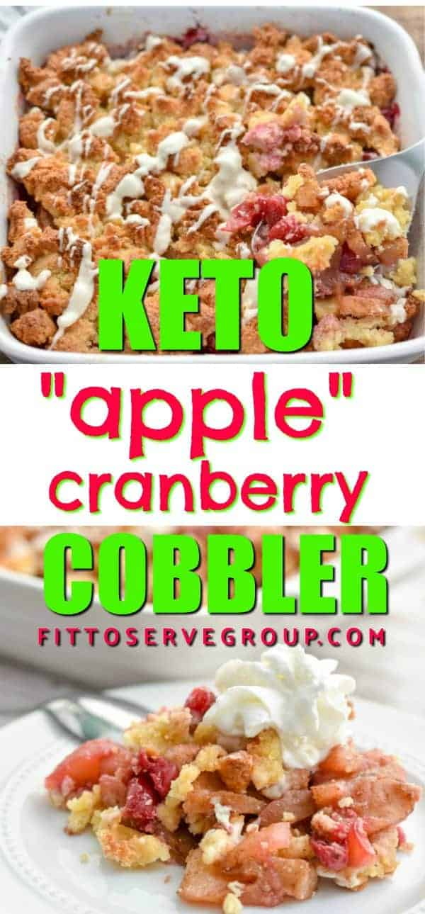 Keto apple cranberry cobbler pin