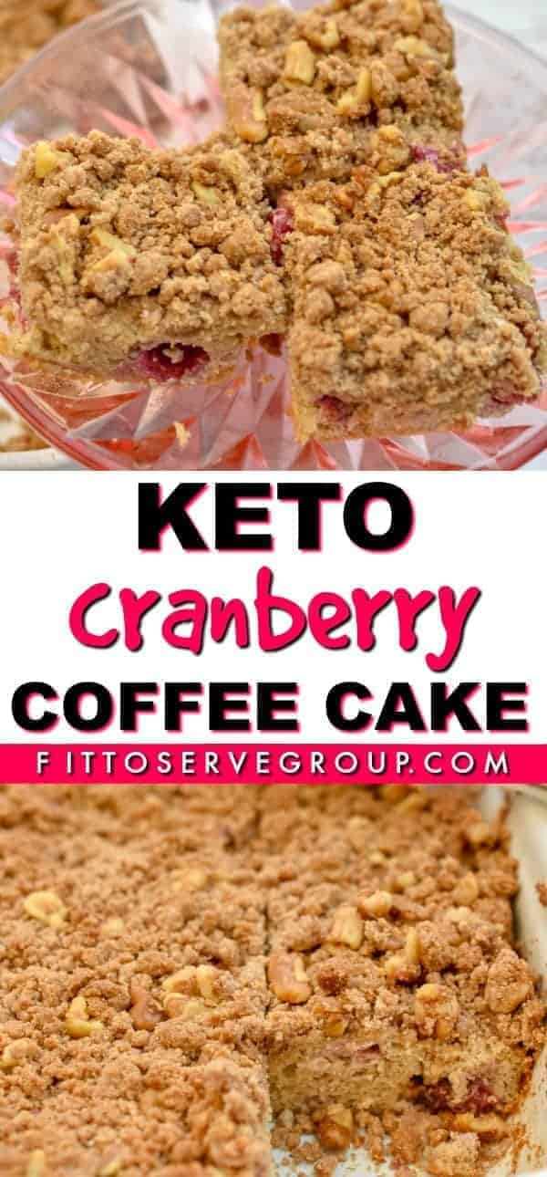 This delicious keto cranberry coffee cake is bursting with the flavor of fresh cranberries and orange zest. Plus it's grain-free, gluten-free, & sugar-free! Keto coffee cake| low carb coffee cake| keto holiday coffee cake| low carb holiday coffee cake| sugar-free coffee cake