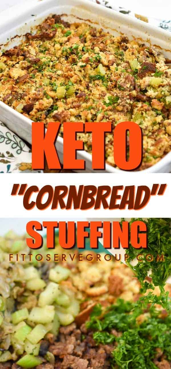 It's a keto cornbread stuffing recipe will allow you all the flavors you know and love from traditional stuffing yet avoid the high carbs. keto stuffing|low carb stuffing| keto dressing| low carb dressing|low carb cornbread dressing| keto cornbread stuffing