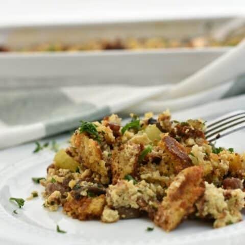 keto cornbread dressing on white plate