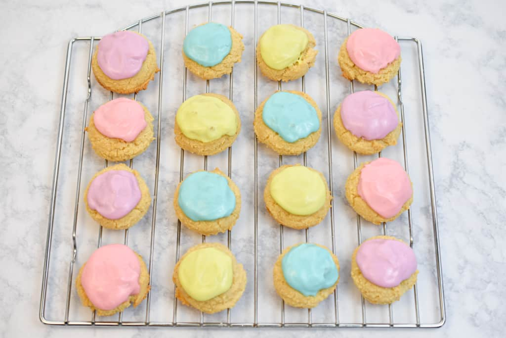 colorful keto sour cream cookies on cooling rack