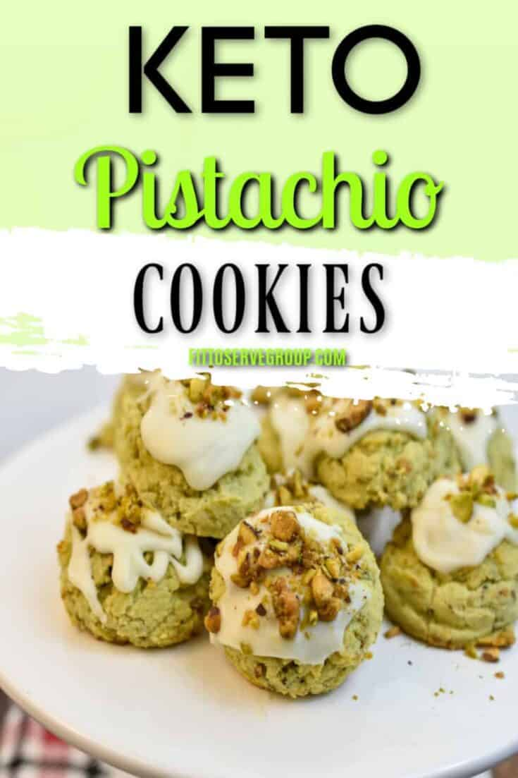 These keto pistachio cookies use only natural ingredients, no artificial pudding mix used here. This low carb cookie makes certain that pistachios are the star. Make a batch for St. Patrick's Day for a healthy, delicious treat. #ketocookies #ketopistachiocookies #lowcarbcookies #lowcarbpistachiocookies