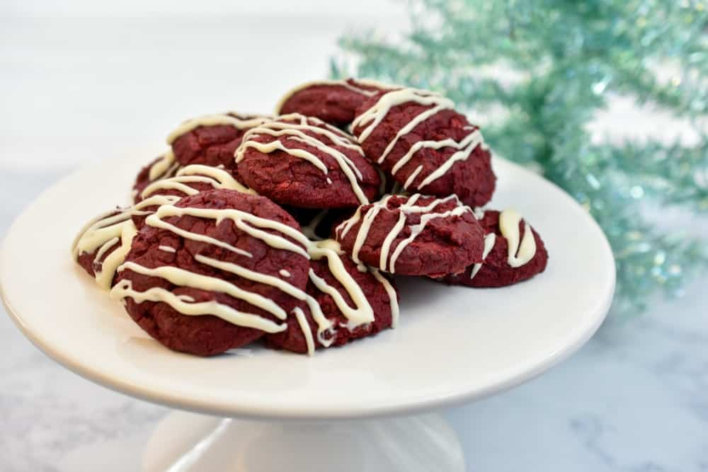keto red velvet cookies with a Christmas background