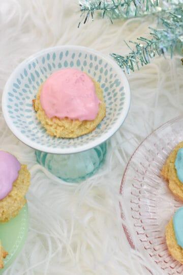 purple pink blue christmas keto sour cream cookies