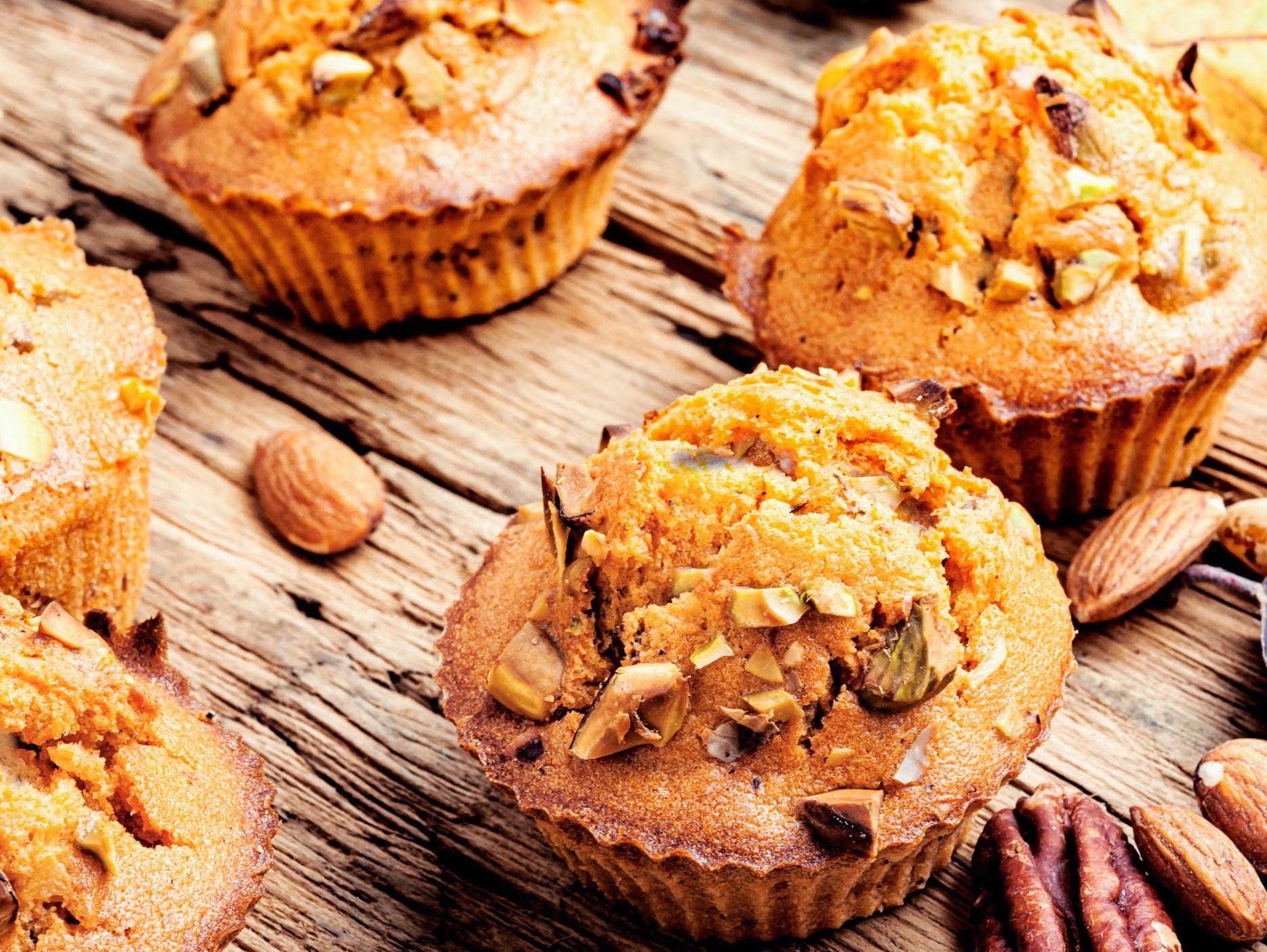 Keto high fiber breakfast muffins on a wood board