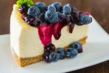 keto blueberry cheesecake on white plate