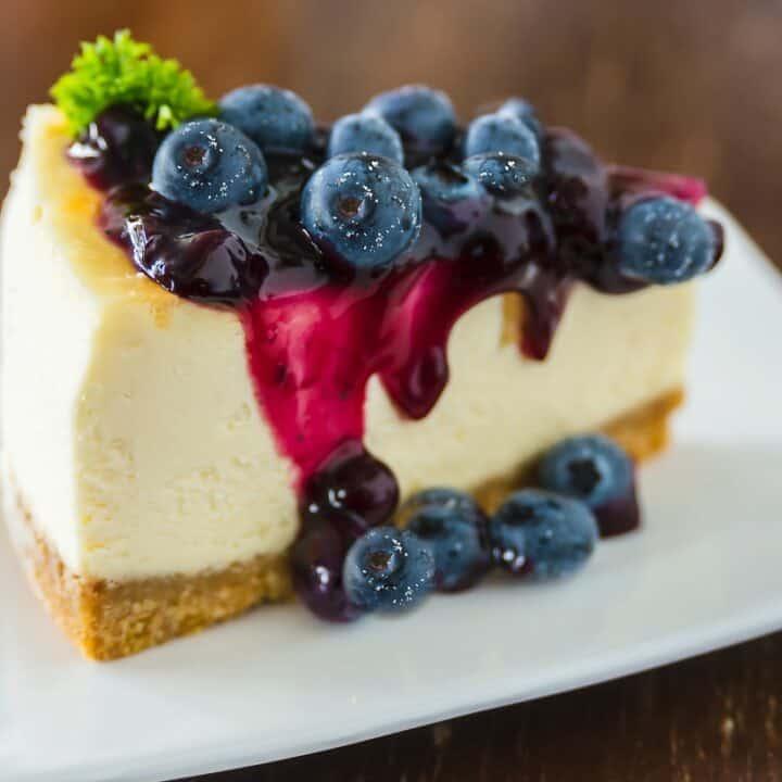 keto blueberry cheesecake on white plate