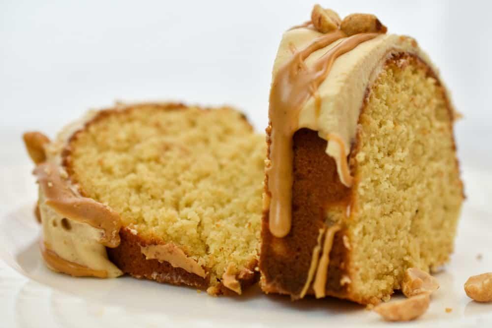 keto peanut butter bundt cake sliced
