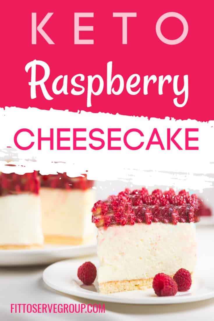 If you are a fan of raspberries, then this keto raspberry cheesecake recipe has your name! It features a vanilla cheesecake baked in an almond flour crust and topped with the most decadent sugar-free raspberry topping. #ketocheesecake #lowcarbcheesecake