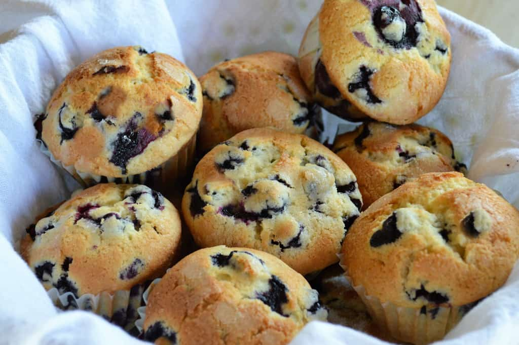 keto blueberry muffins in a basket