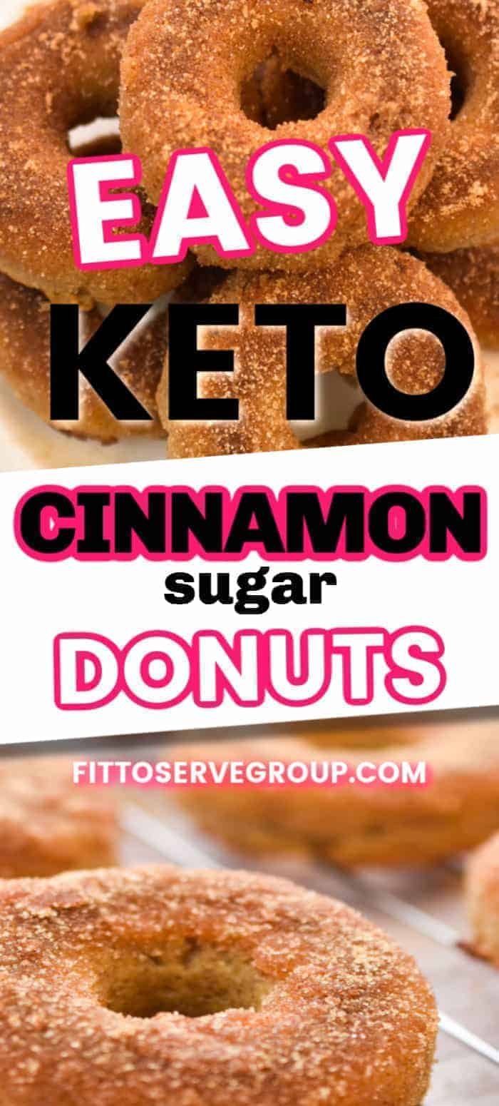 Easy, delicious keto cinnamon sugar donuts. These low carb cake donuts make the ultimate treat. Enjoy with your favorite hot beverage for one delicious snack or quick keto breakfast option. #ketodonuts #lowcarbdonuts #ketocinnamondonuts