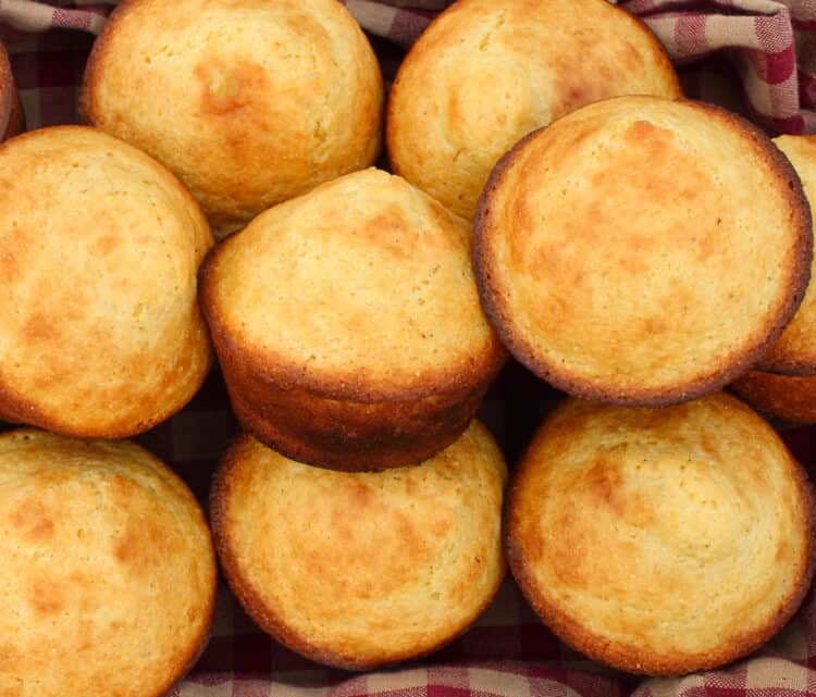 close up of almond flour cornbread in a basket