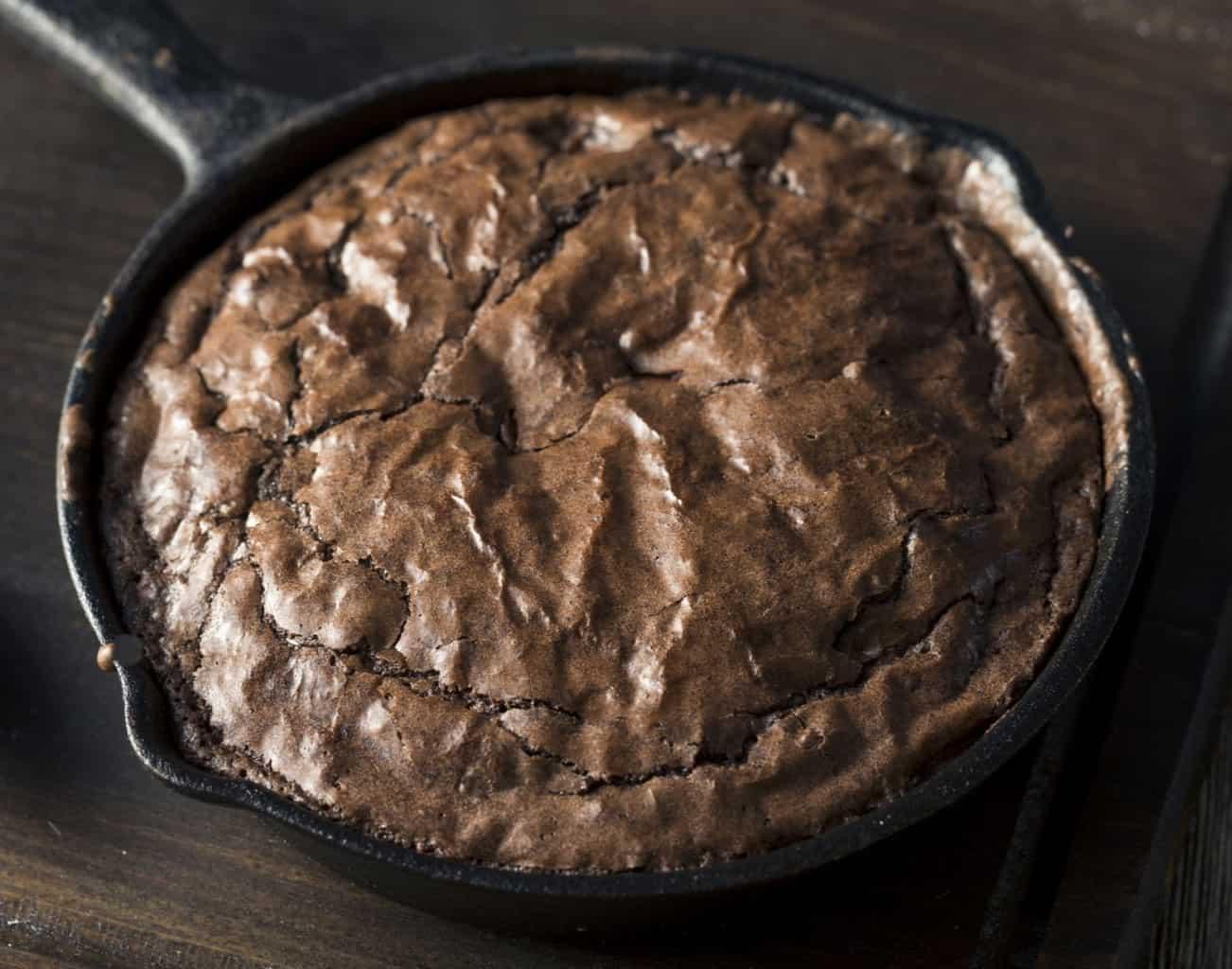 keto skillet brownie up close