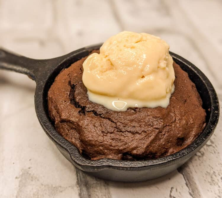 a keto skillet brownie baked in a minis