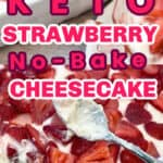 Keto strawberry no bake cheesecake made in a large pan being served
