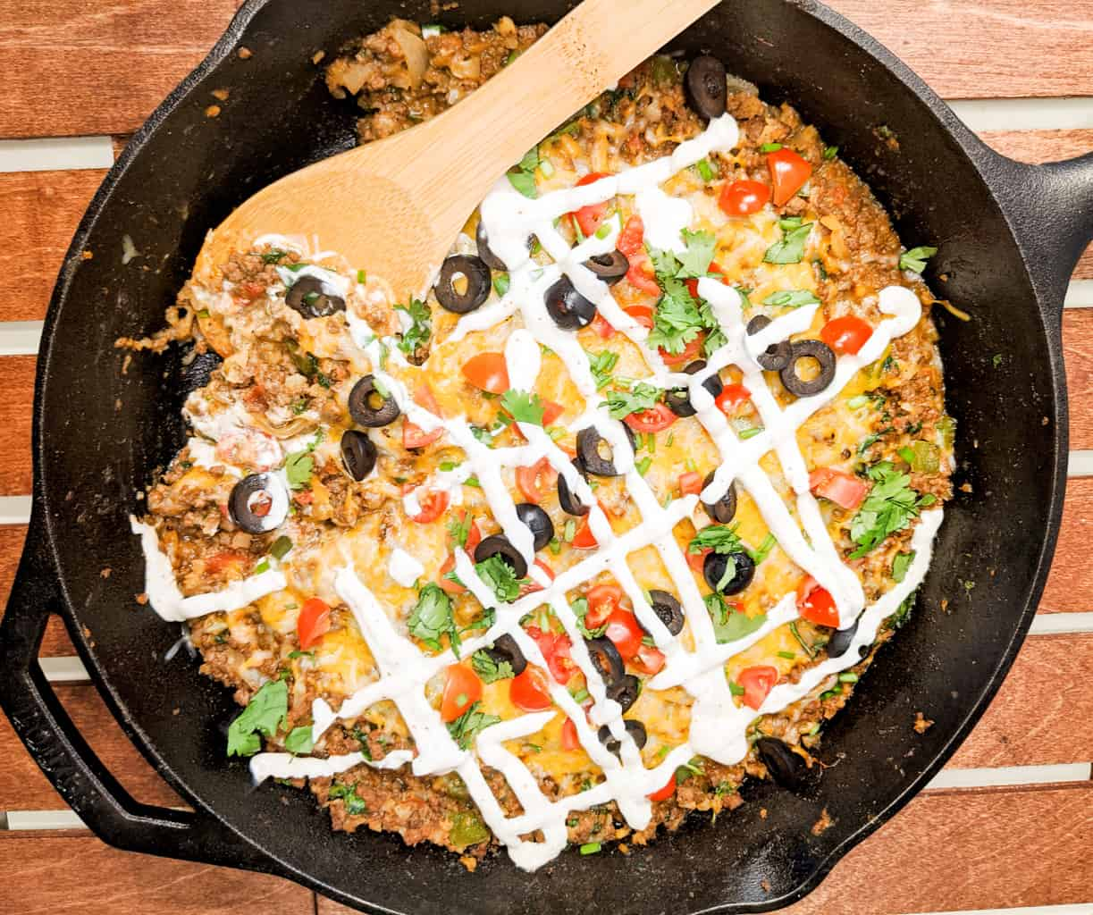 Keto Mexican skillet ready to serve on a wood table