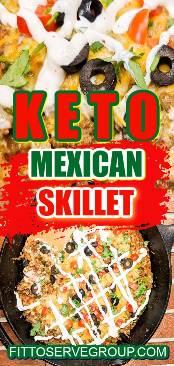 Keto Mexican Skillet Meal served and cooked in a cast-iron skillet