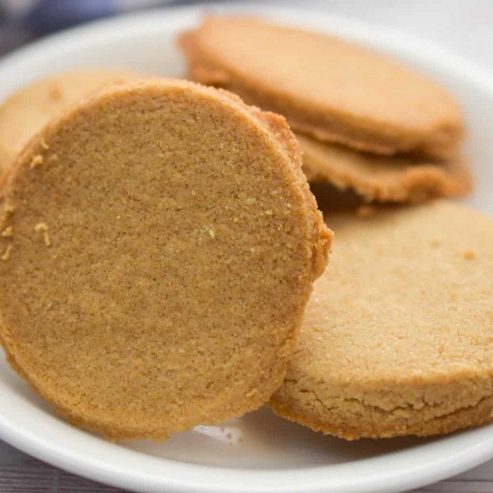 coconut flour shortbread cookies on a white plate