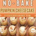 Keto No-Bake Pumpkin Cheesecake Minis on a wood board