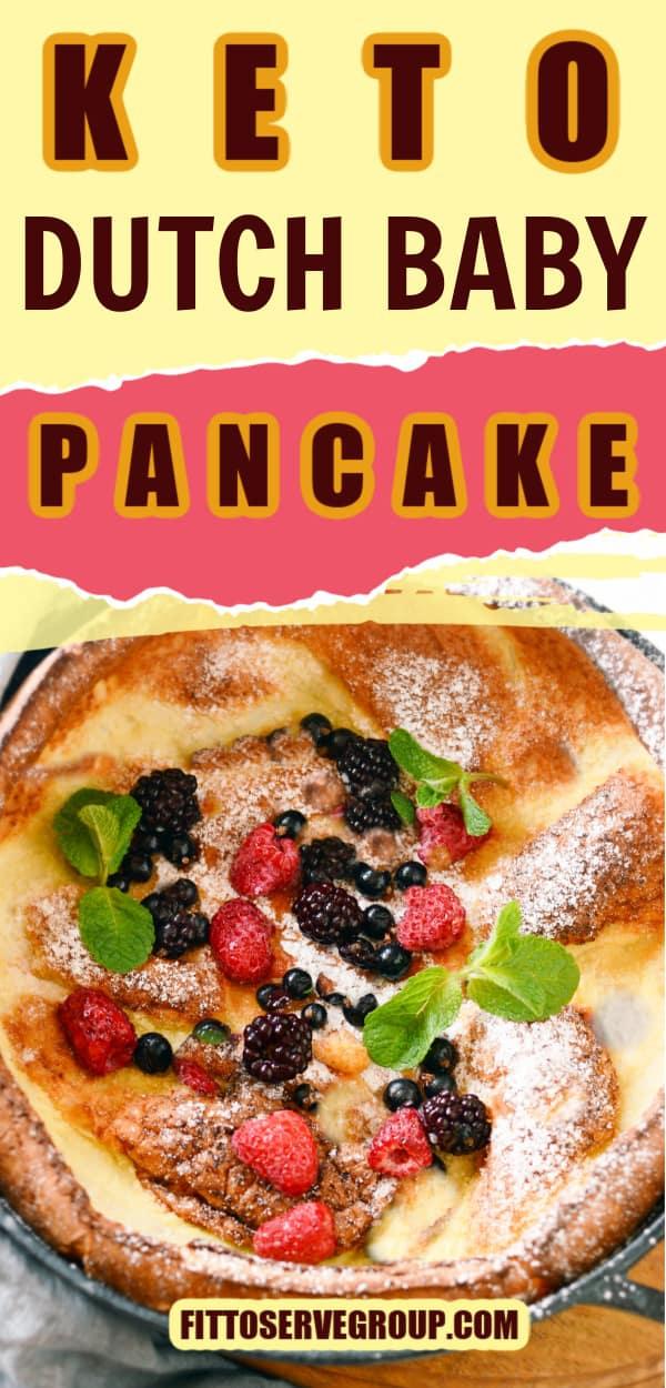 Keto dutch baby pancake topped with fresh berries