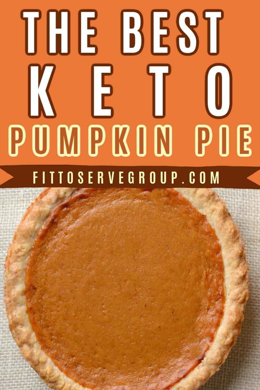 Keto pumpkin pie a large pie on burlap