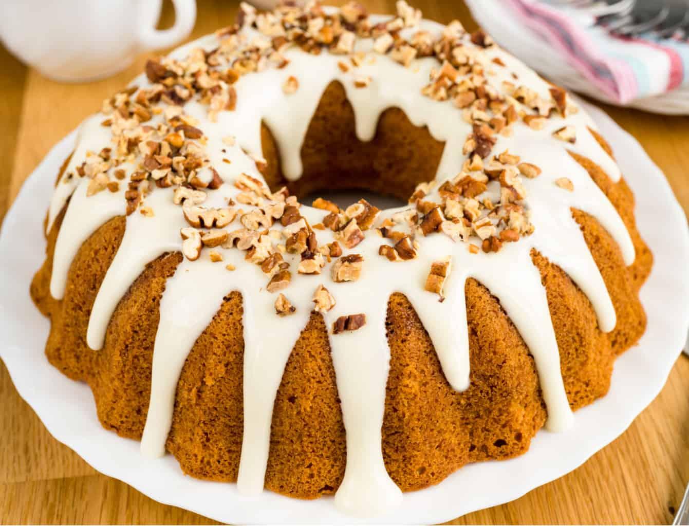 keto cinnamon bundt cake on a white plate