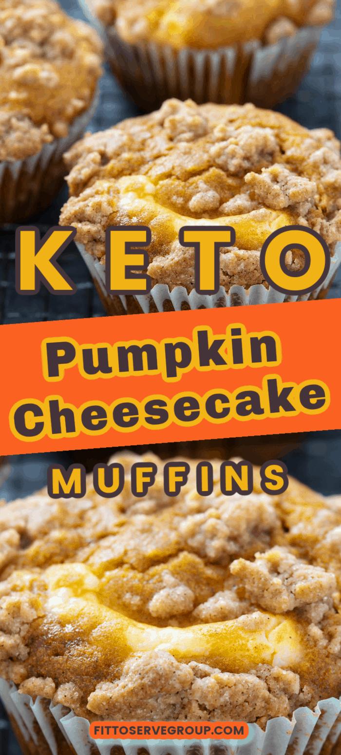 Keto Pumpkin Cheesecake Muffins long pin