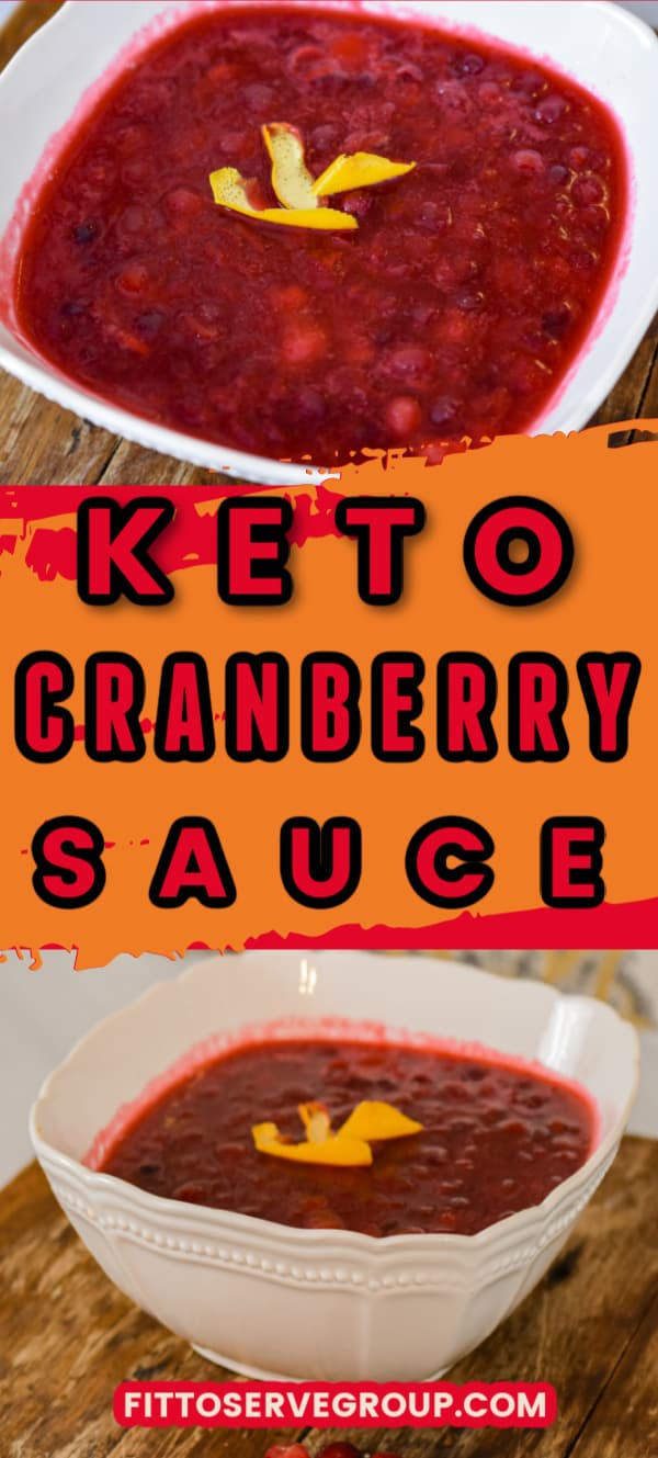 Keto cranberry sauce in a white bowl on top of a wood table
