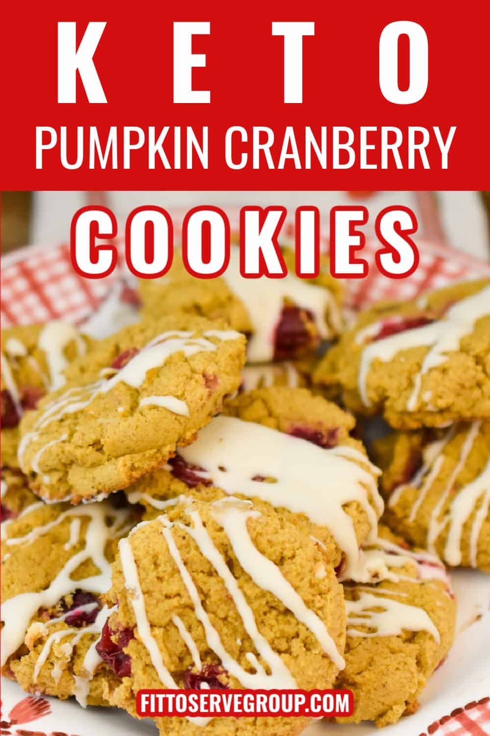 keto pumpkin cranberry cookies on red and white cookie plate