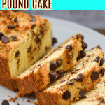 Keto chocolate chip pound cake sliced on a white large platter